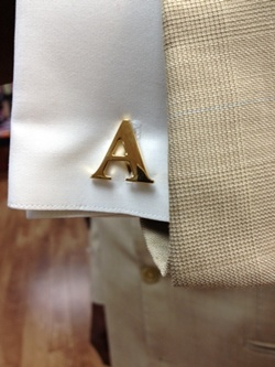 Alphabet Cuff Links Set Gold Finish ALPHACLGold
