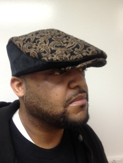 Cuffley Cap 4-Black sides- brown paisley CuffleyCap4-Blacksides-brownpaisley