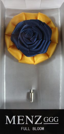 Full Bloom Lapel Flower-Gold-Navy LFB-Gold-Navy