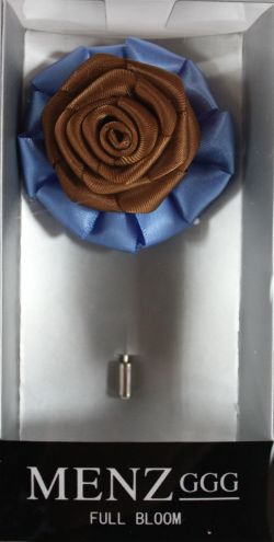 Full Bloom Lapel Flower-Lt Blue-Brn LFB-LtBlue-Brn