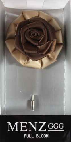 Full Bloom Lapel Flower-Tan-Brn LFB-Tan-Brn