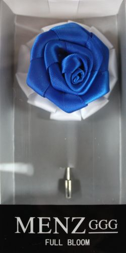Full Bloom Lapel Flower-Wht-RBlue LFB-Wht-RBlue