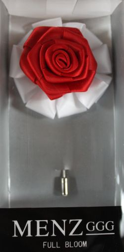Full Bloom Lapel Flower-Wht-Red LFB-Wht-Red