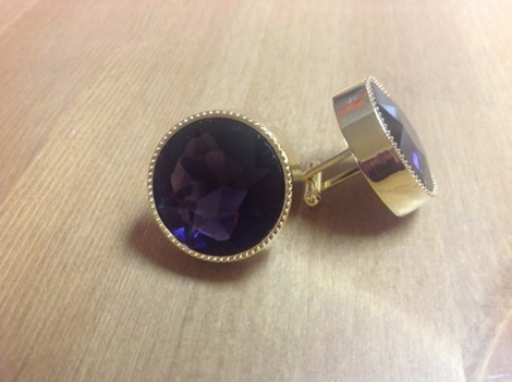 King Round Cuff Link-Purple KRC10-Purple