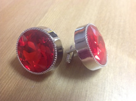 King Round Cuff Link-Red KRC3-Red