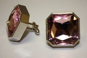 King Square Cuff Link 05-Pink KSC05-Pink