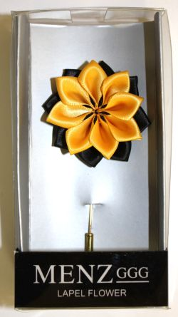 Lotus Lapel Flower 04 BLK/GOLD LLF-04-BLKGOLD