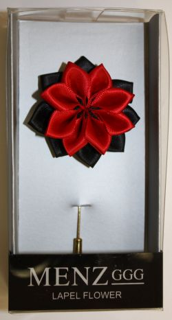 Lotus Lapel Flower 06  BLK/RED LLF-06-BLKRED