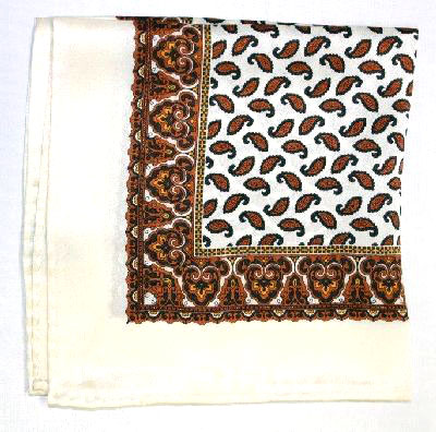 Printed Silk Hanky -cream-gold-brown PSH20 printedsilkhanky20