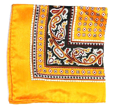Printed Silk Hanky -gold-brown-grey-burg PSH21 printedsilkhanky21