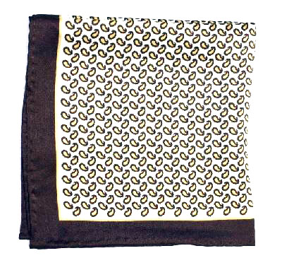 Printed Silk Hanky -cream-gold-brown PSH25 printedsilkhanky25