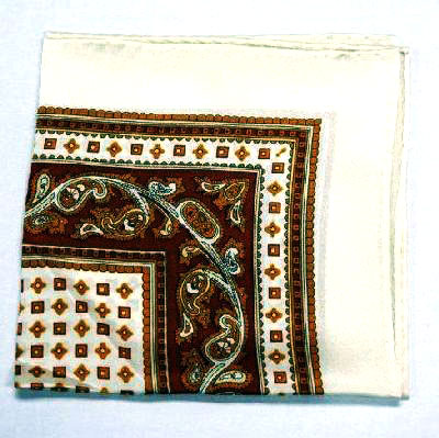 Printed Silk Hanky -cream-gold-lt brown PSH4 printedsilkhanky4